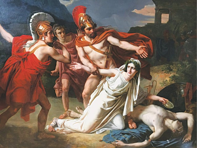 A painting by French artist Sébastien Norblin depicts Antigone kneeling over the body of her brother Polynices, who has been denied a proper burial by King Creon. Antigone is imprisoned for refusing to comply with the king's orders and is locked in a tomb where she hangs herself. The characters are reimagined in Home Fire as Aneeka, her twin brother Parvaiz and the British Home Secretary Karamat Lone | Wikimedia Commons