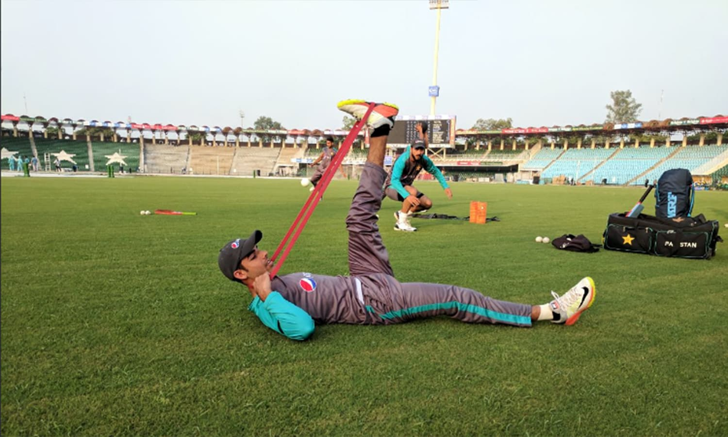 Pakistan's Shadab Khan stretches during the practice session.— Photo courtesy: PCB Twitter @TheRealPCB