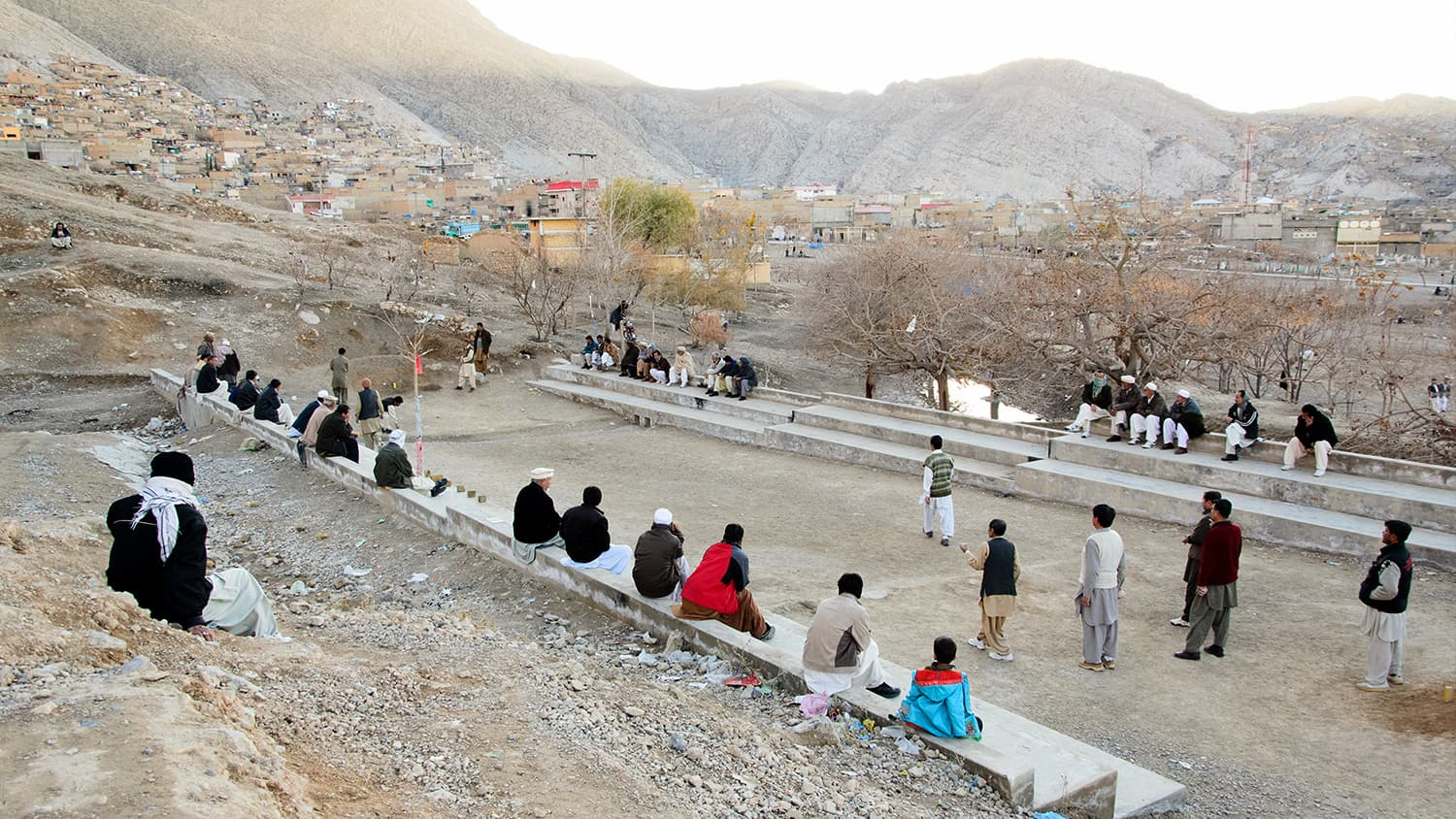 People of all ages gather to watch the game of Sang Girag.