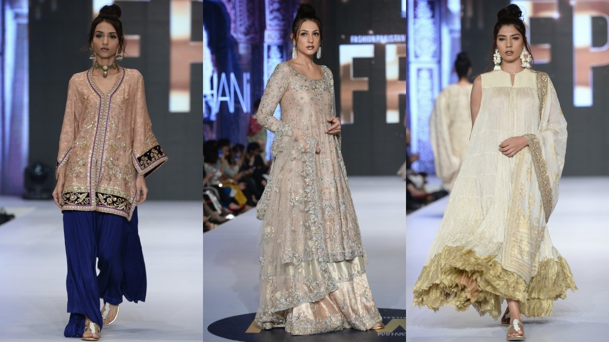 Misha Lakhani featured her signature boxy shirt-and-ajar, a farshi gharara and a crushed anarkali