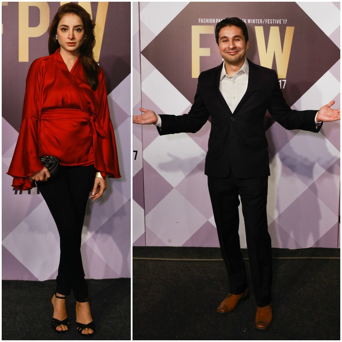 Saad Haroon and Sarwat Gillani at FPW Day 1's red carpet