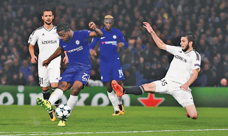 LONDON: Chelsea's Michy Batshuayi shoots to score during the Group 'C' game against Qarabag FK  at Stamford Bridge.—Reuters