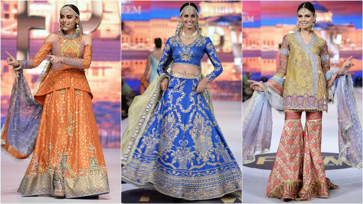 Wardha Saleem's Dholak collection, meant for mehndi brides, featured models having some fun on the catwalk