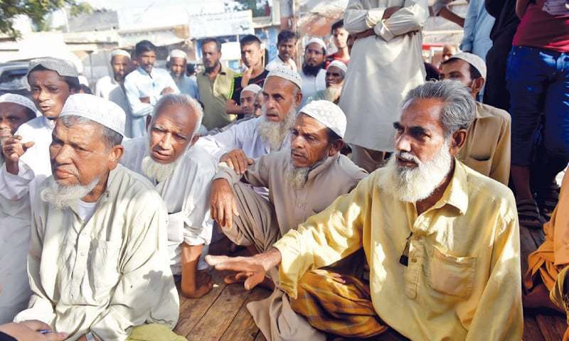 Elders in the Ali Akbar Shah Goth are disturbed by the Rohingya 'genocide' in Myanmar and want Pakistan to intervene in the matter.—Fahim Siddiqi / White Star