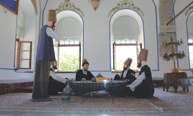 A depiction of the members of the Mevlevi order inside the Mevlana Museum