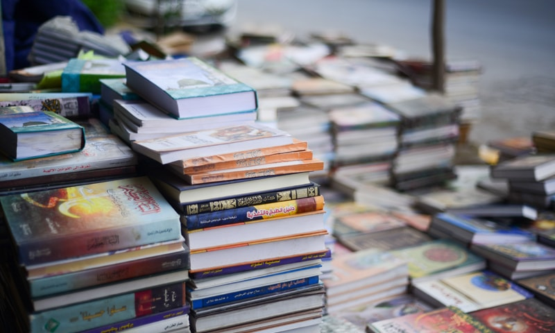 A makeshift bookstore on the streets of Karbala — Arabic literature has inspired many plays performed in the region