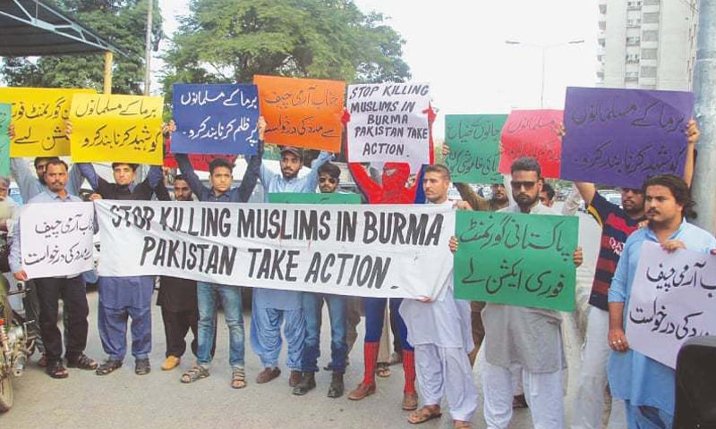 a protest in Karachi against the Rohingya massacre in Myanmar