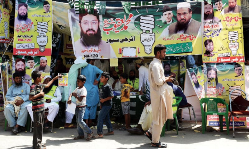 Workers of the Jamaatud Dawa and its charity wing Falah-i-Insaniat Foundation at JuD-backed candidate's polling camp.