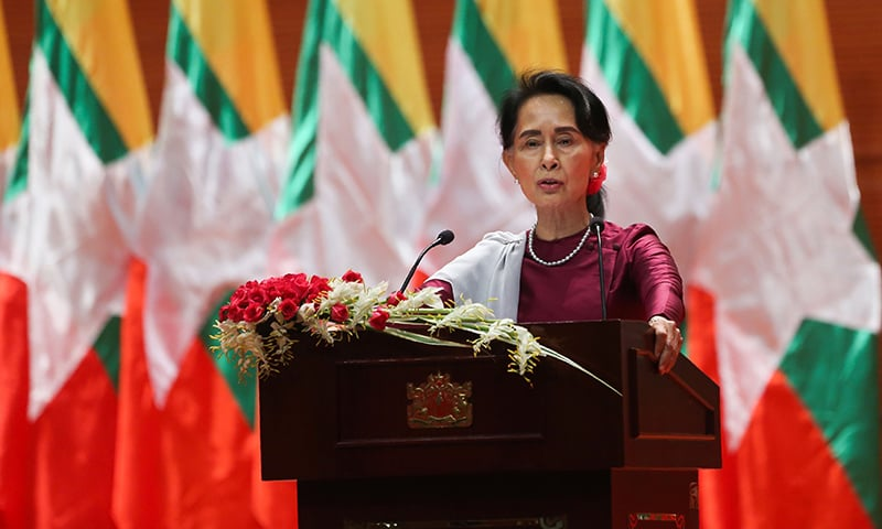 Myanmar's State Counsellor Aung San Suu Kyi delivers a national address in Naypyidaw on September 19.— AFP