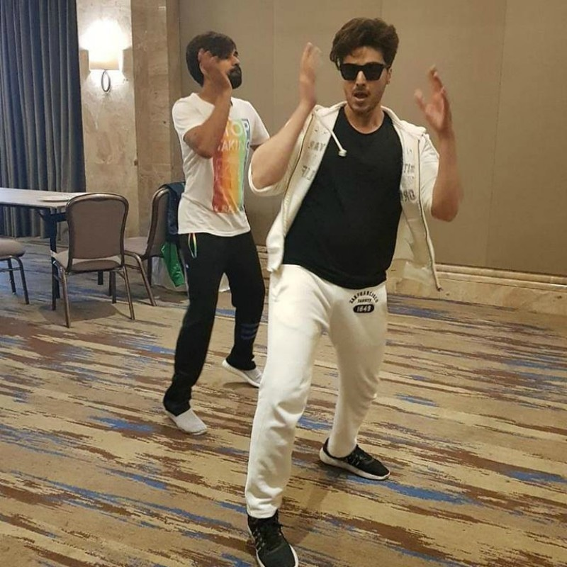 Ahsan Khan rehearsing his IPPA performance with choreographer Wahab Shah