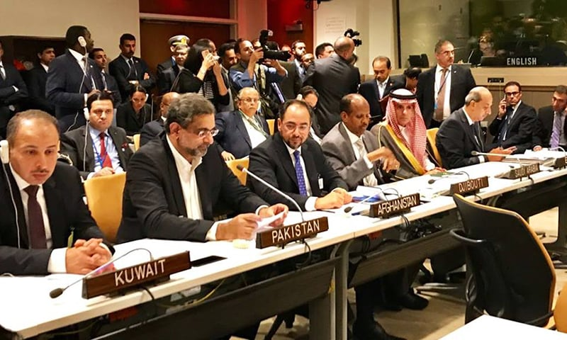 PM Abbasi delivers statement at the OIC Contact Group meeting.— PM Office