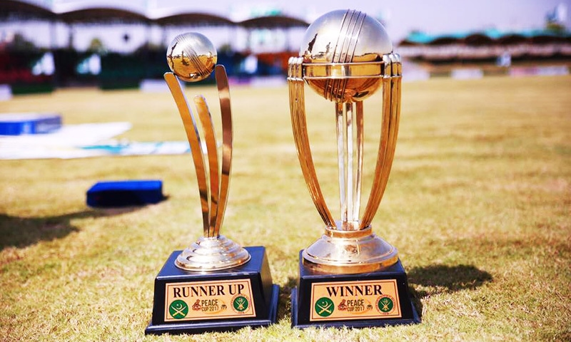 Trophies for winner and runner up teams of Peace Cup 2017.—Courtesy: Peshawar Zalmi Foundation's Facebook page