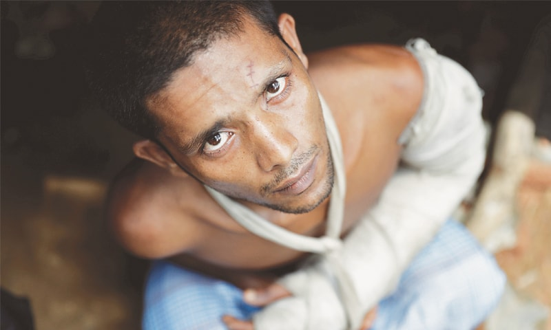 A Rohingya refugee says he was shot, stabbed and left for dead by Myanmar military.—Reuters