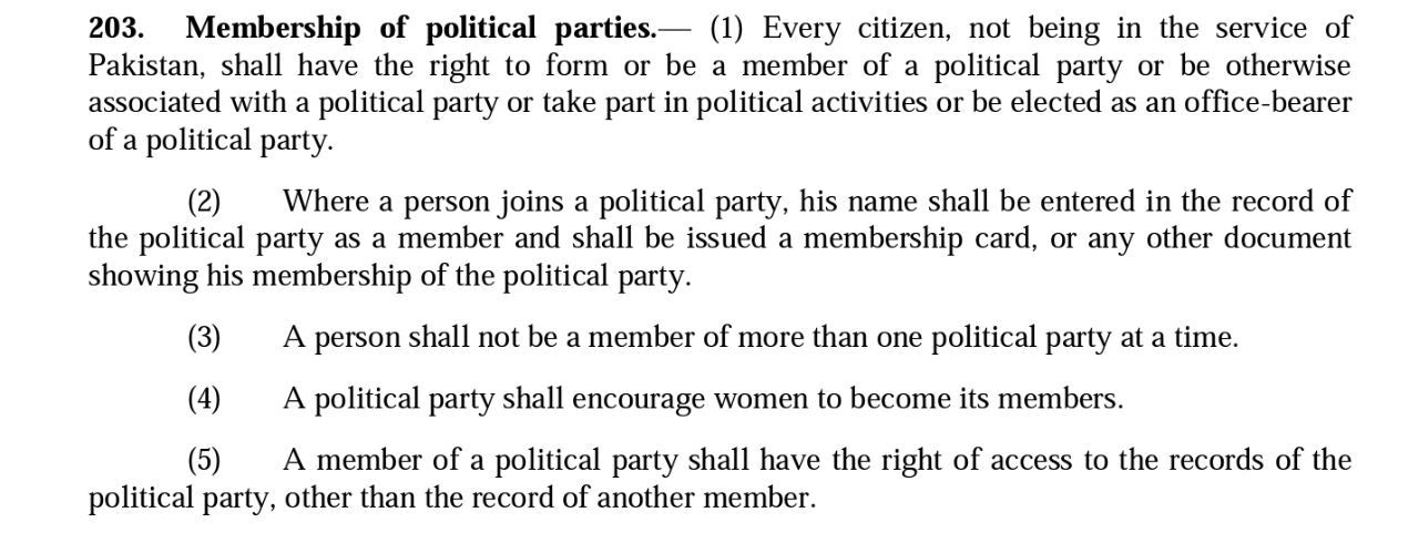 Article 203 of the Election Bill, to which Senator Aitzaz Ahsan proposed an amendment.