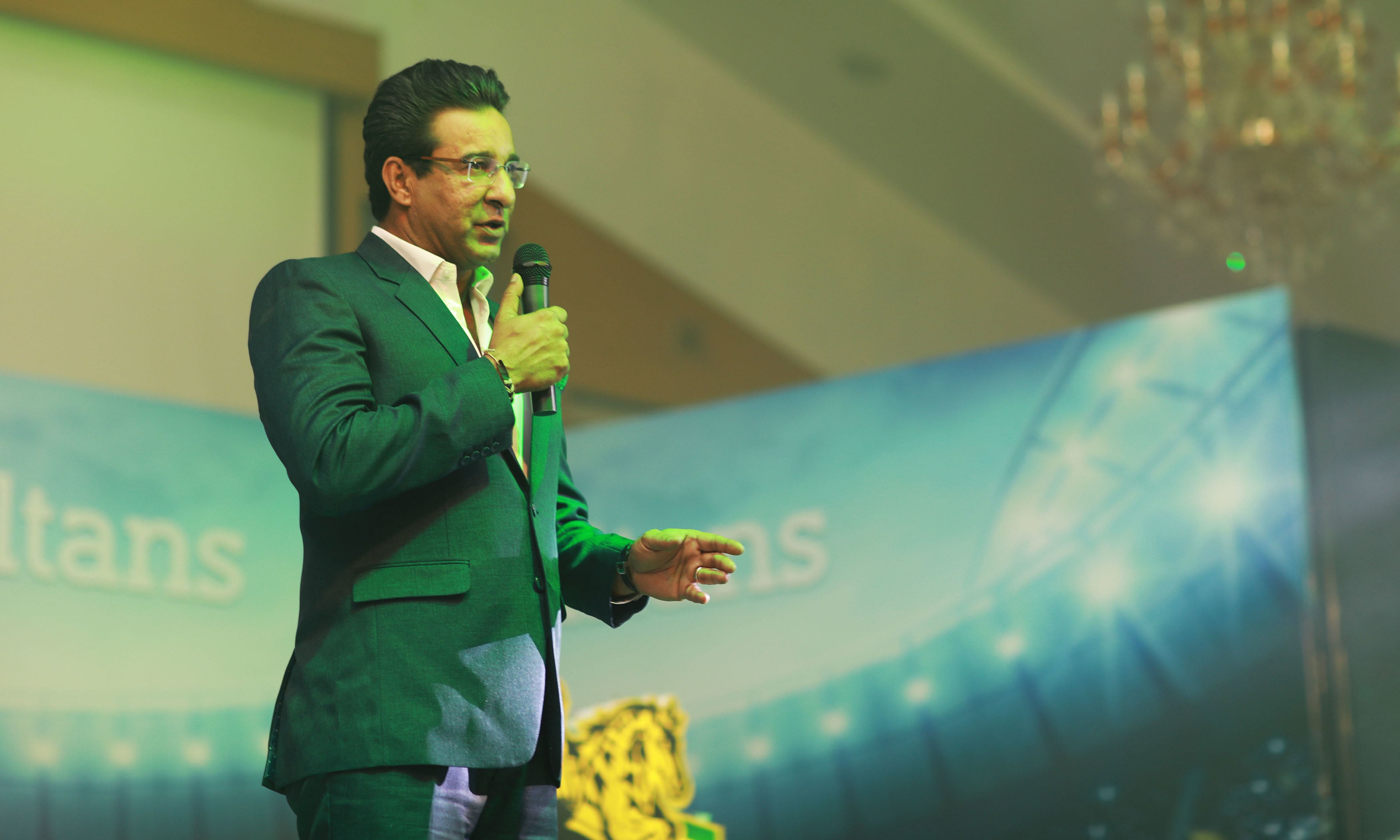 Multan Sultans' Director of Cricket Operations Wasim Akram speaks at logo launch. —Photo courtesy Multan Sultans