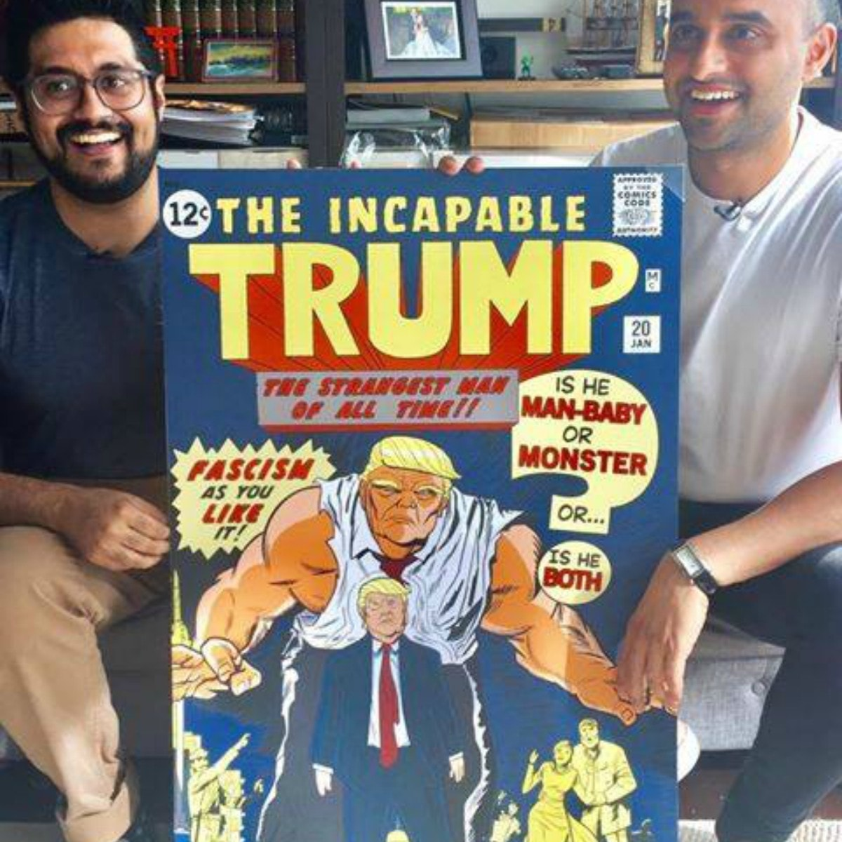 Omar Mirza and Khurram Ansar Mehtabdin with 'Incapable Trump' — Photo courtesy Comic Con PK Foundation