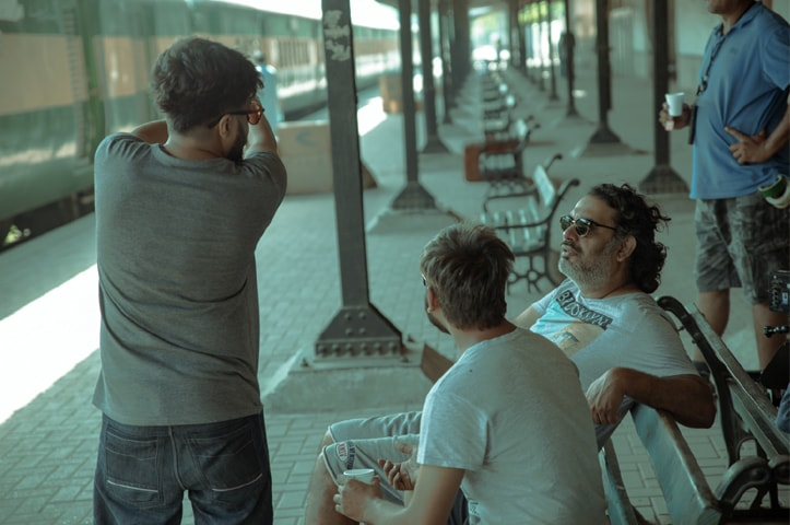 Director Ahsan Rahim (extreme right) during the film's Lahore shooting spell | Omer Khalid Butt