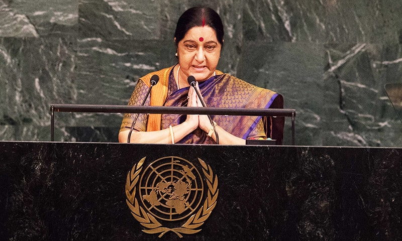 India Minister of External Affairs Sushma Swaraj addresses the 72nd Session of the UN General Assembly.—AFP
