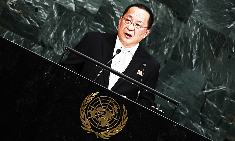 North Korea's Foreign Minister Ri Yong Ho addresses the 72nd session of the United Nations General assembly.—AFP