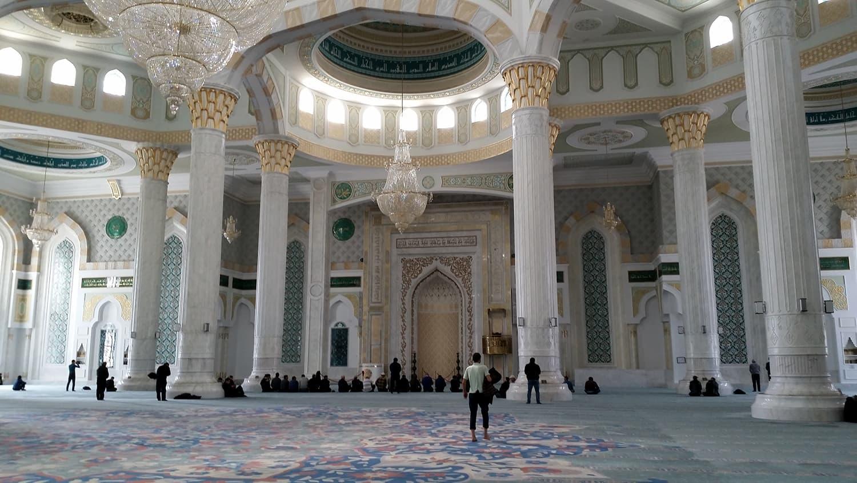 Interior Astana Jama Mosque, Kazakhstan.