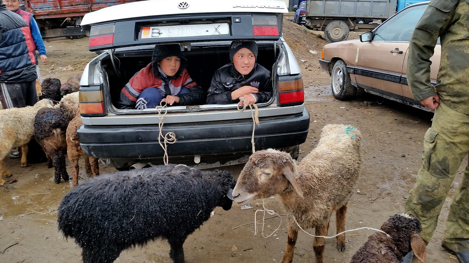 Happy Sellers at a weekly livestock market in Karakol, Kyrgyzstan.