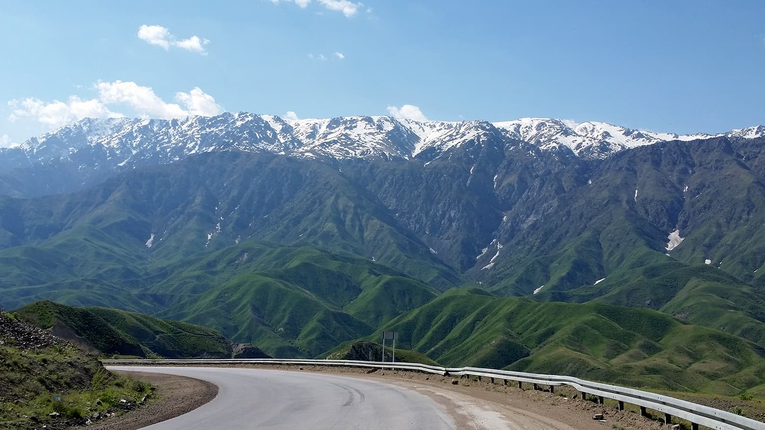 On the road in Kyrgyzstan.