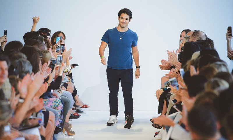 US designer Joseph Altuzarra walking down the runway at the New York Fashion Week last year.—AFP