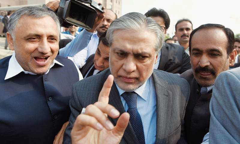 ISLAMABAD: Finance Minister Ishaq Dar leaves after appearing before an accountability court here on Monday.— Tanveer Shahzad/White Star