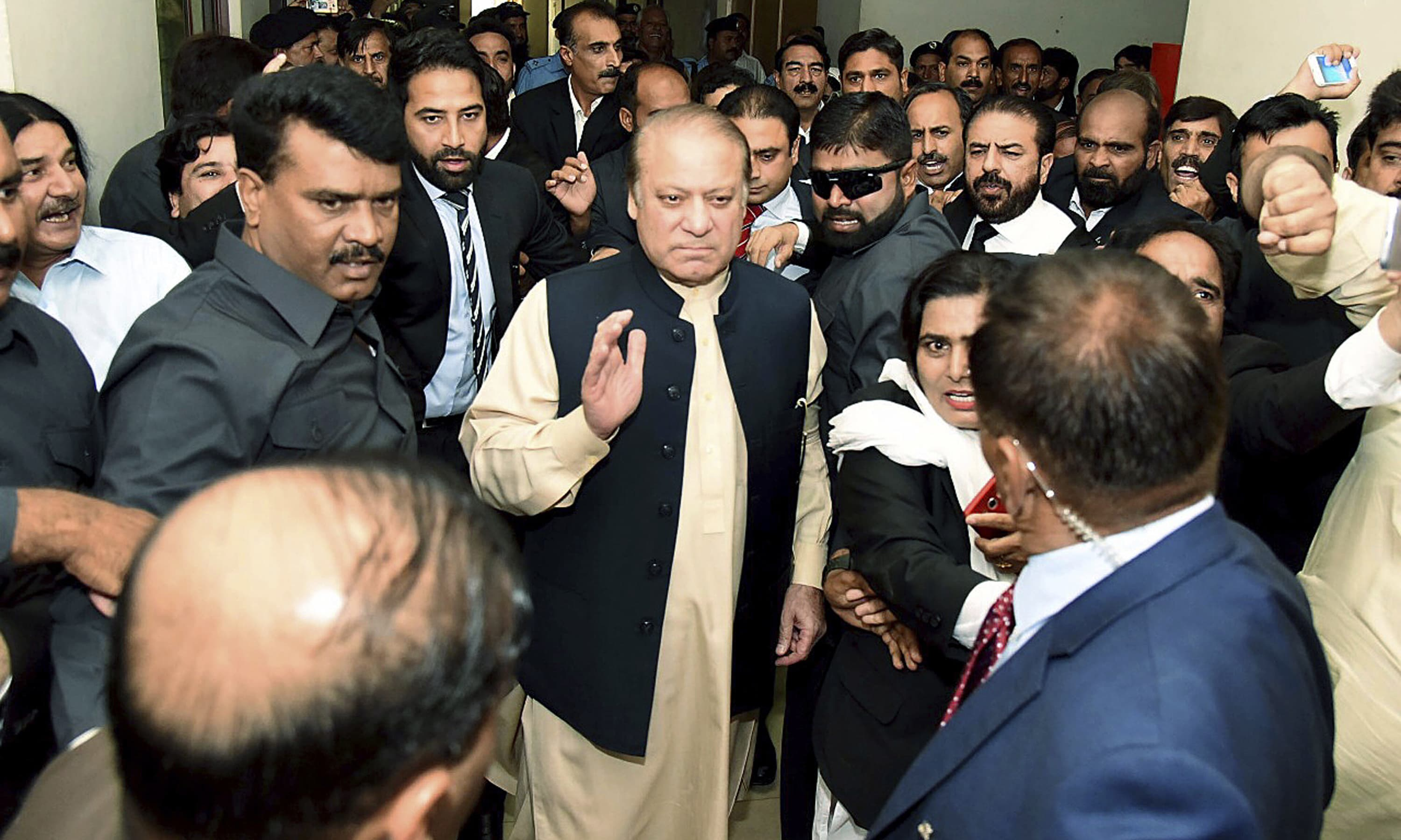 Nawaz Sharif arrives at an anti-corruption court in Islamabad. —AP