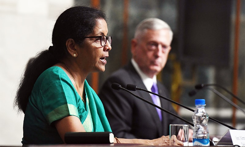 Indian Defence Minister Nirmala Sitharaman speaks as US Defence Secretary Jim Mattis looks on as they issue a joint press statement after a meeting in New Delhi. —AFP