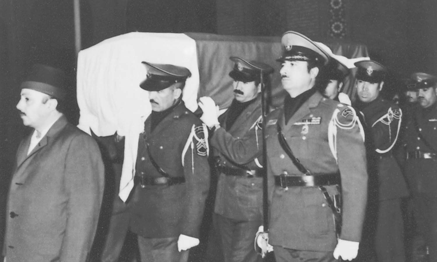 The coffin of Iskander Mirza being carried by Iranian army officers. | Photo: The Iskander Mirza Family Collection, Karachi