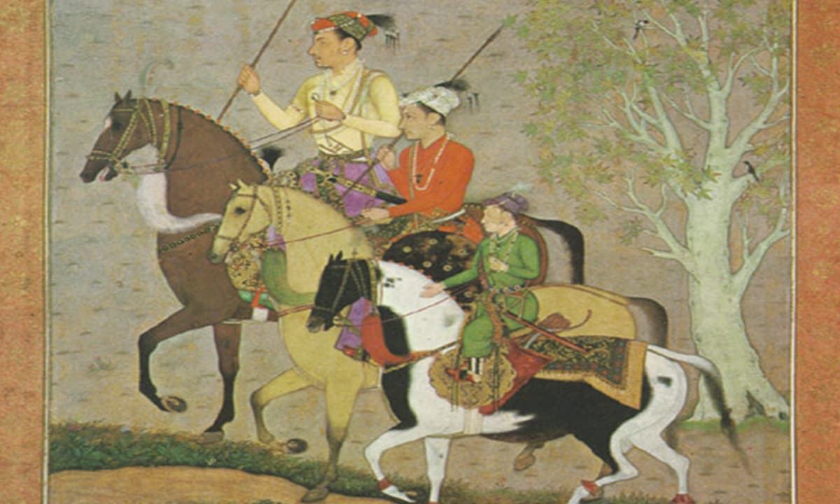 Mughal princes Shuja, Aurangzeb and Murad Bakhsh circa 1637