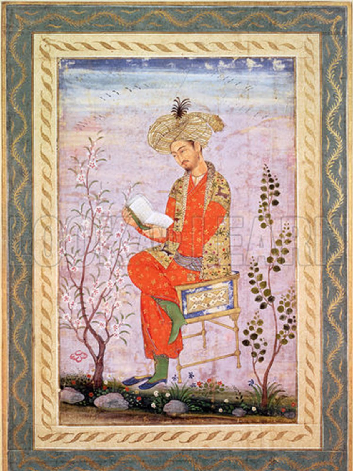 Miniature painting shows Babur reading | Creative Commons