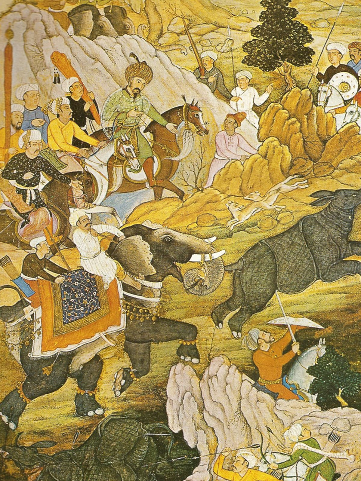Babur hunting rhinoceros in Peshawar