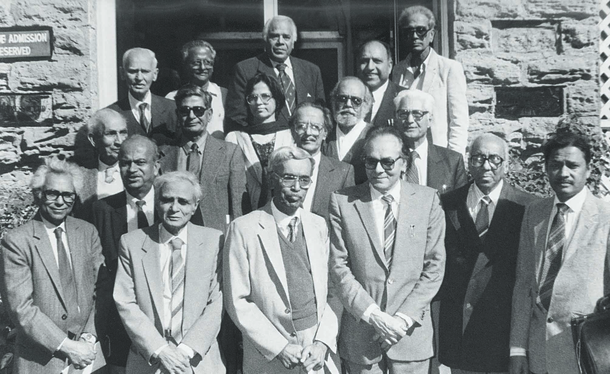 Dawn Editor Ahmed Ali Khan (third from right) with long-time colleagues at the Karachi Press Club in January 1994. The others (from left to right, first row) are: Hasan Abidi, Abdul Hameed Chapra, M.A. Qayyum, M.A. Shakoor, Mohsin Ali, Habib Khan Ghori. In the second row are: Fazal Imam, Ghayurul Islam, Zubeida Mustafa, M.A. Majid, Saleem Asmi and M.B. Naqvi. Third row features Hazoor Ahmed Shah, M.J. Zahedi, M.H. Askari, Salahuddin and Iqbal Jafri. | Photo: Mujib / White Star