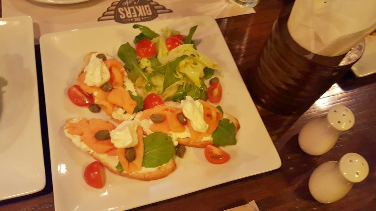 The salmon bruschetta is filling yet not too heavy