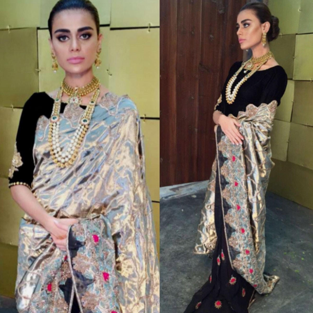 Sadaf Fawad Khan Bridals' William Morris Floral Bouquet sari — Photos from Instagram