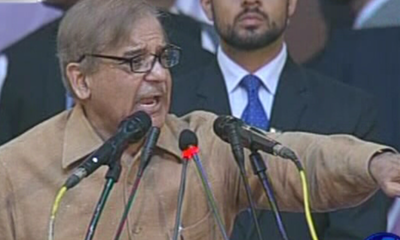 Shahbaz Sharif addresses the gathering.— DawnNews