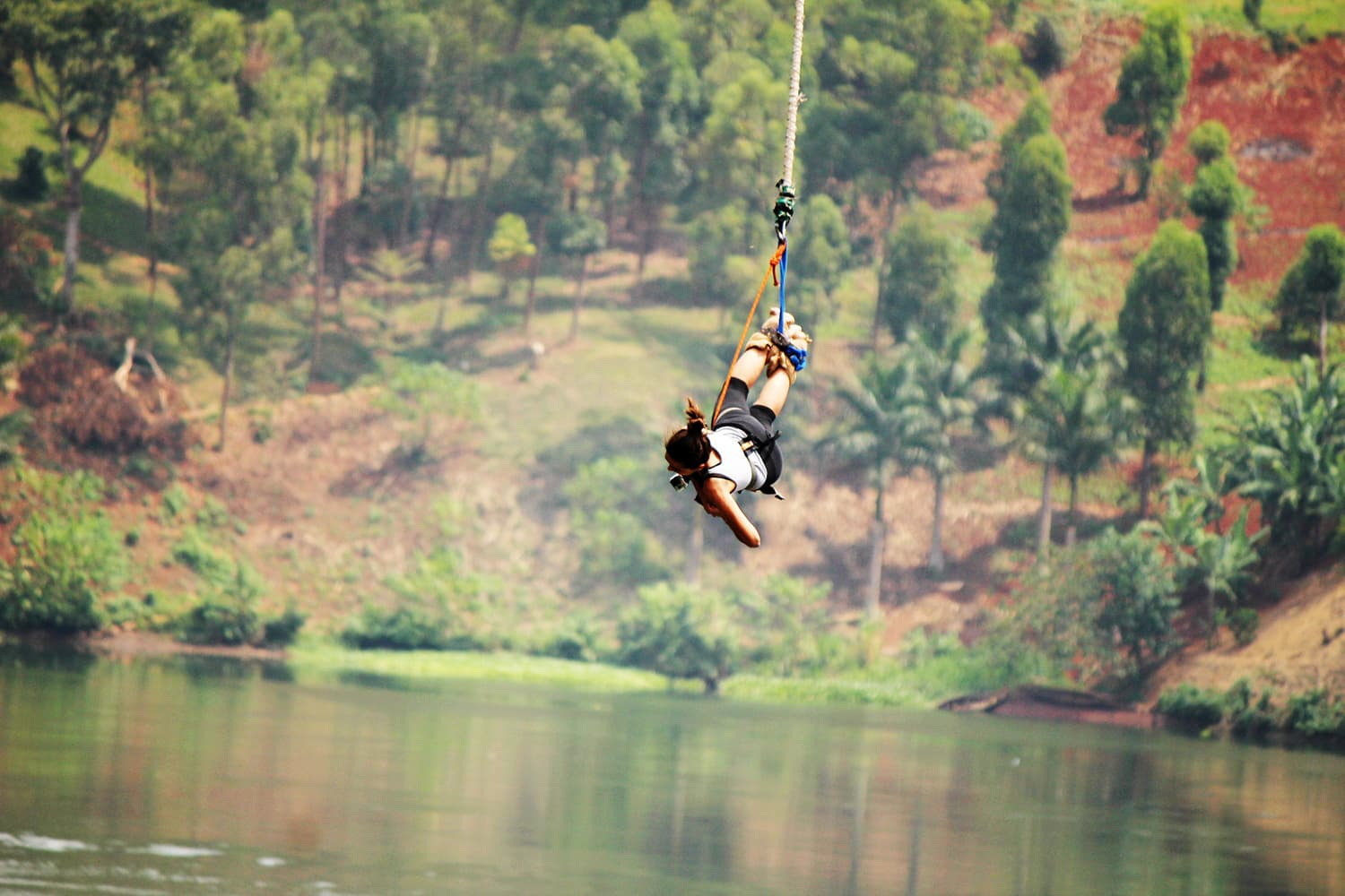 Bungee jumping over River Nile in Uganda.