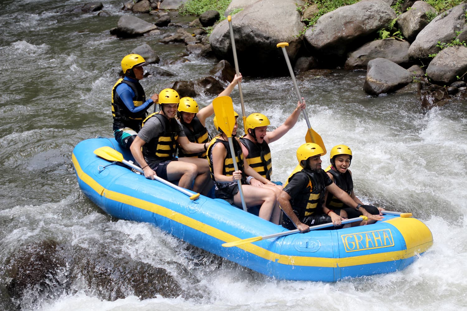 River rafting on Mount Ayung, Indonesia.