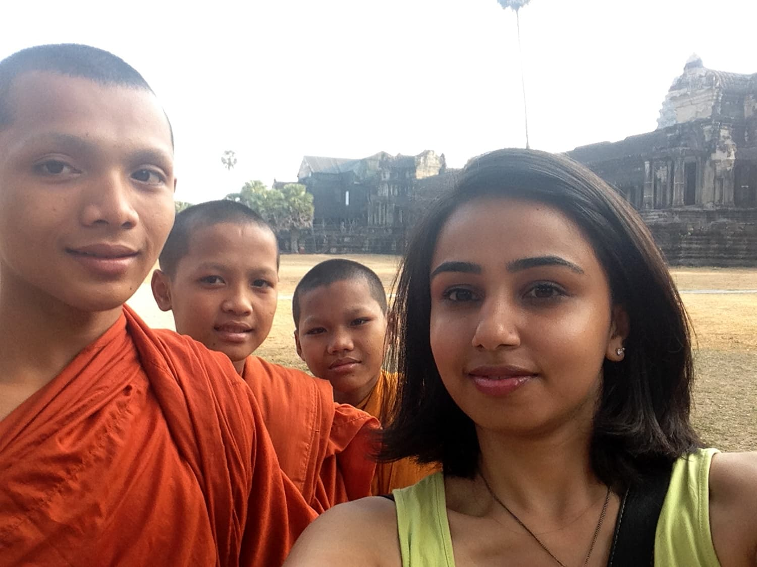 These friendly monks agreed for a photo, South East Asia.