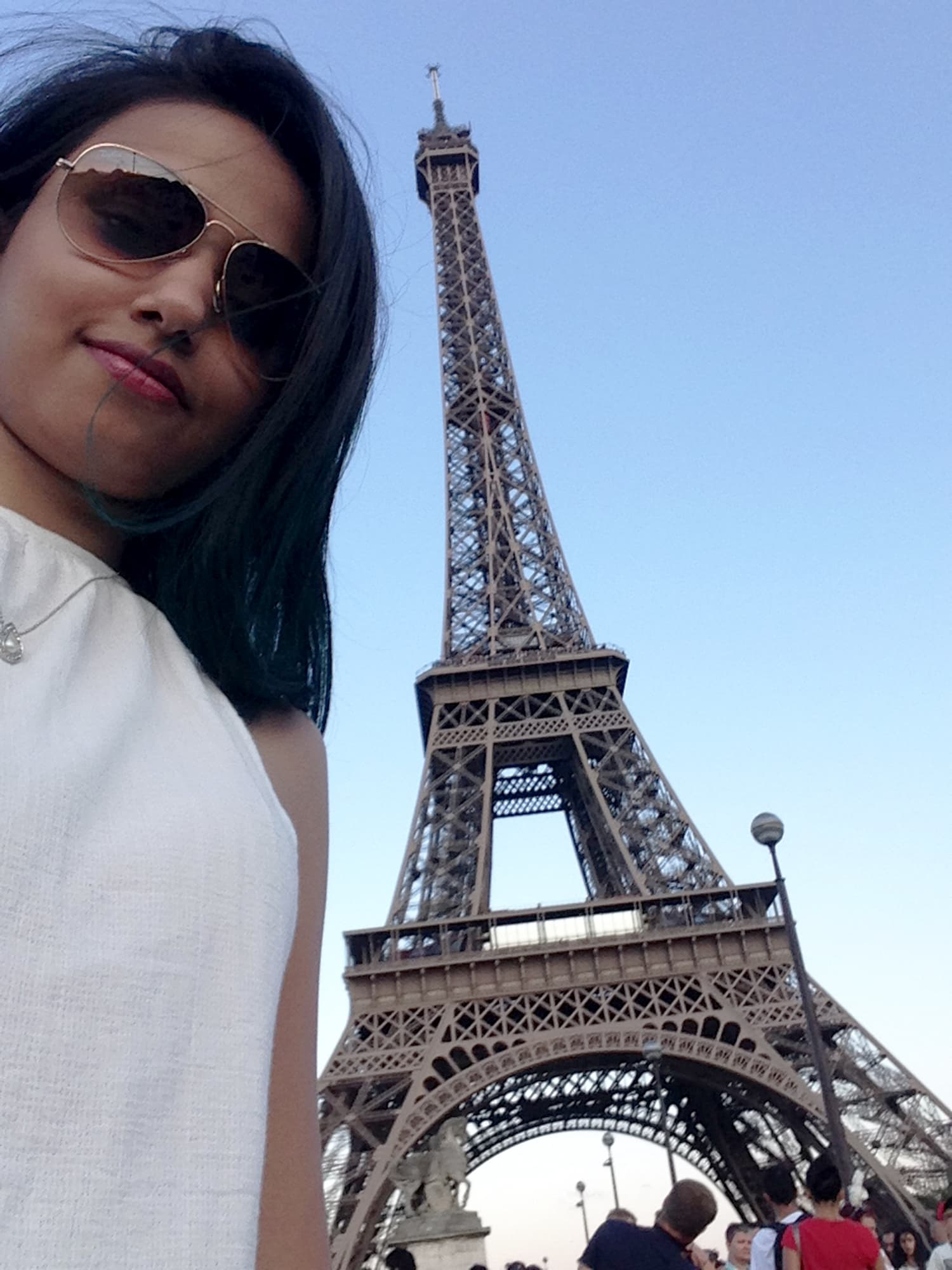 Visiting the Eiffel Tower in Paris, France.