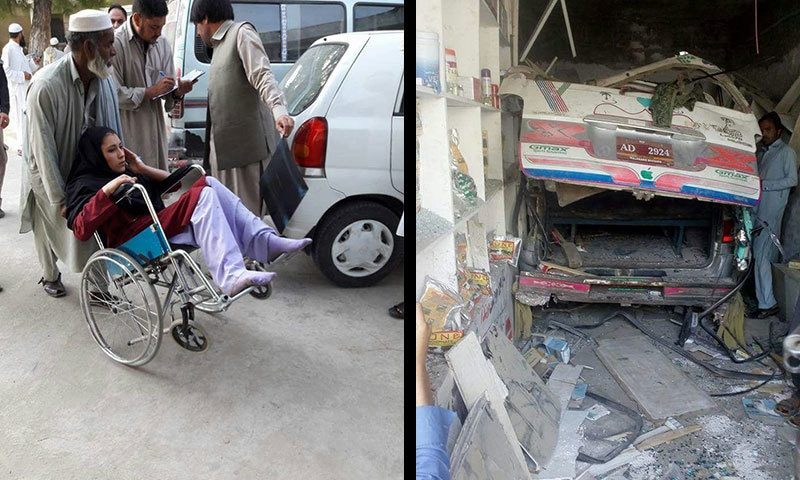 وین تیز رفتاری کے باعث دکان میں گھس گئی جبکہ واقعے میں زخمی ہونے والی طالبہ کو ہسپتال منتقل کیا جارہا ہے— فوٹو: عمر باچا