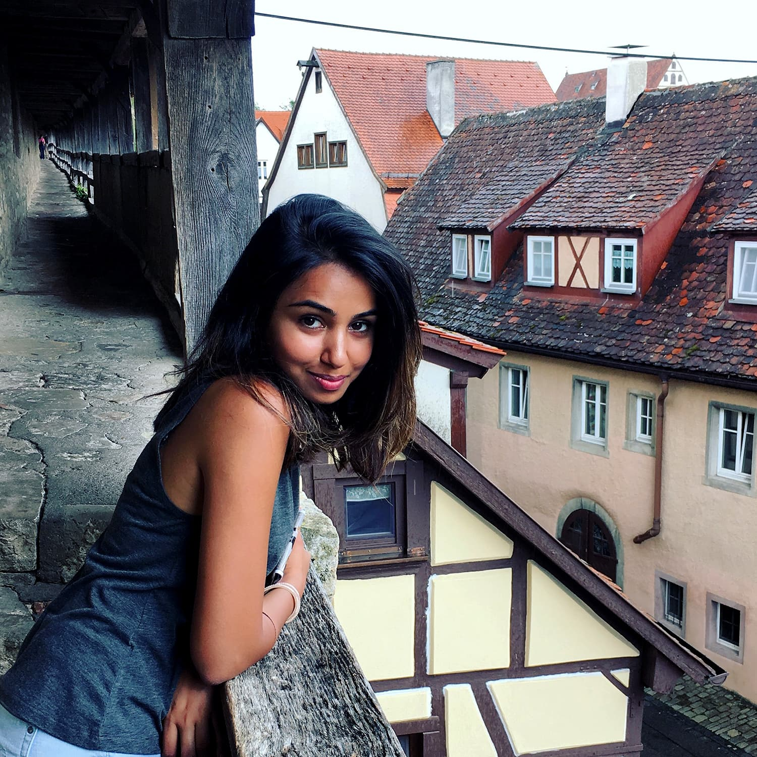 From a balcony in Rothenburg ob der Tauber, Germany.