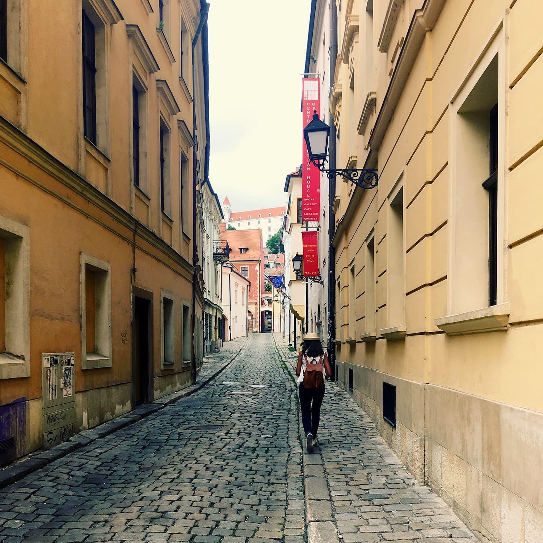 The street leading to Hrad Castle in Bratislava, Slovakia.
