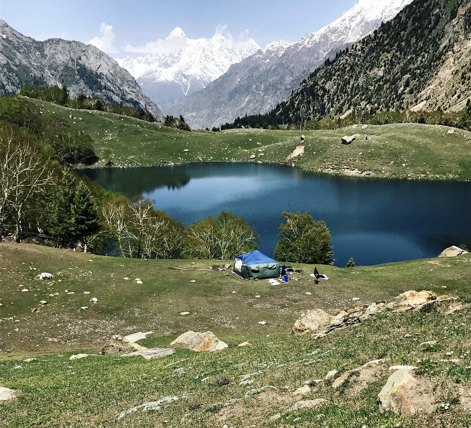 Our solitary camp at the Kutwal Lake.