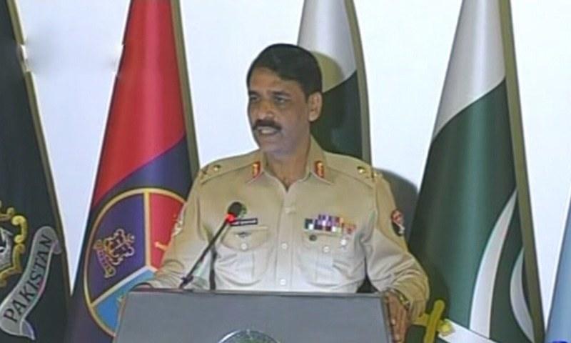 DG ISPR Maj Gen Asif Ghafoor addresses a press conference at GHQ in Rawalpindi. ─ DawnNews