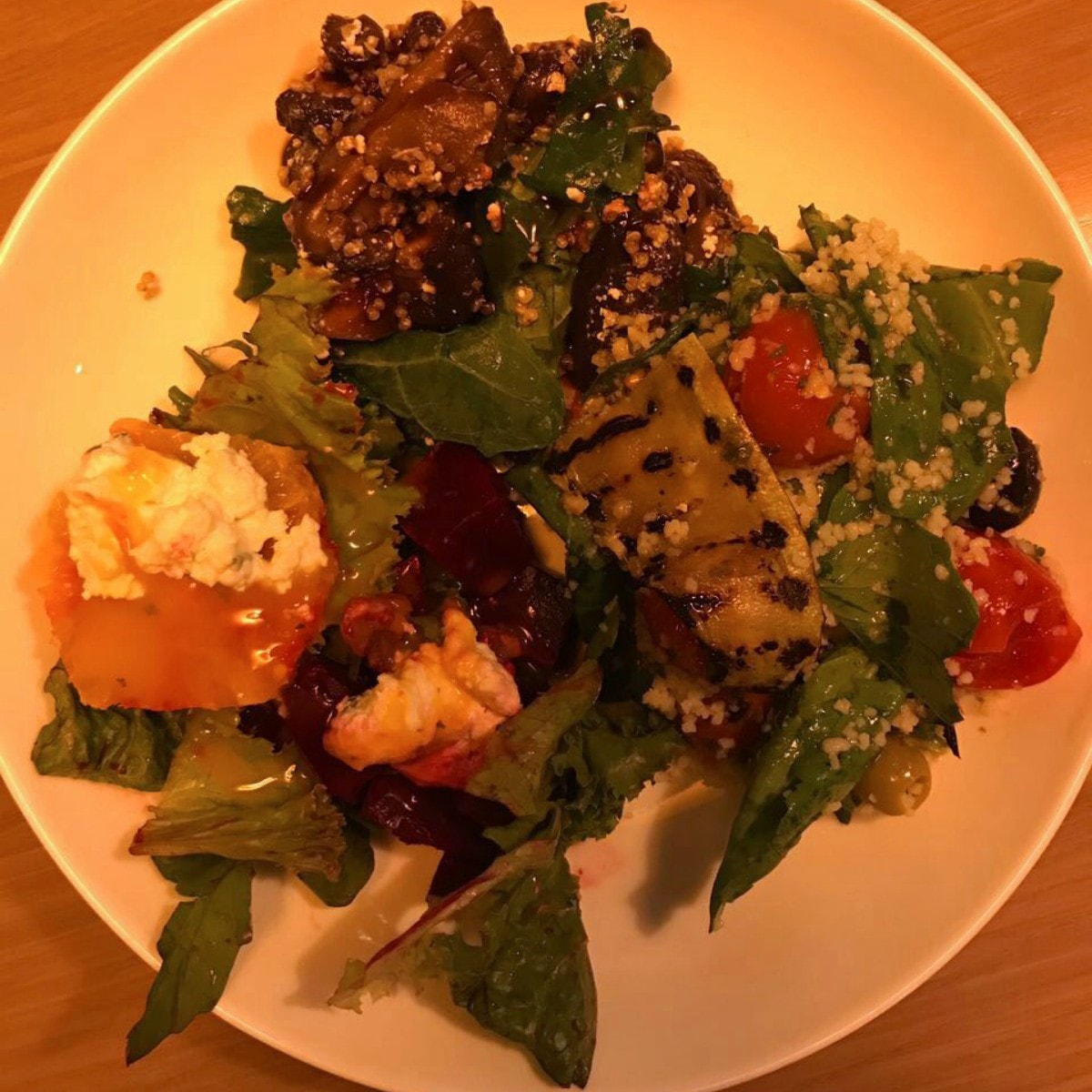On my platter: mushroom and feta with quinoa; date and orange salad; and citrus beet