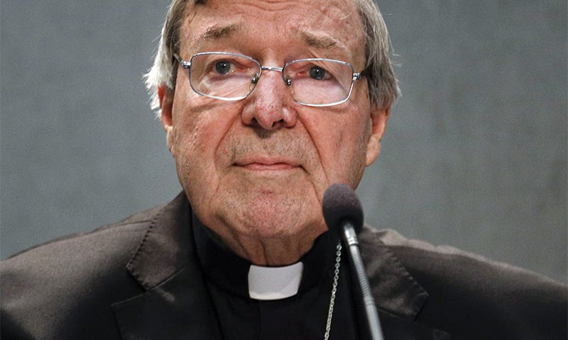 In this June 29, 2017 file photo, Cardinal George Pell meets the media at the Vatican. ─ AP