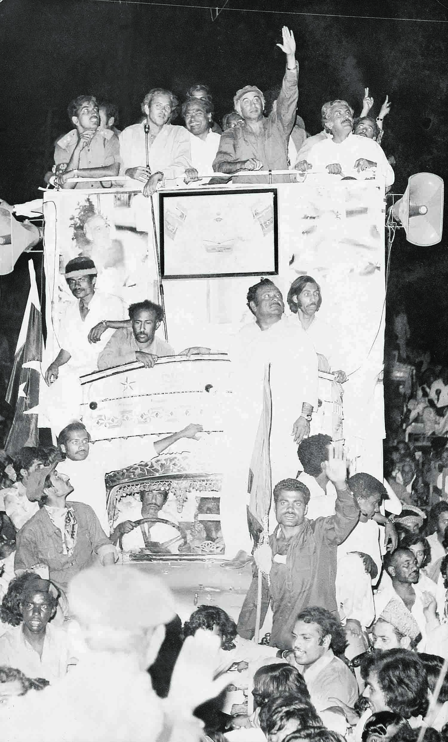 Even though Karachi was never a PPP stronghold, Zulfikar Ali Bhutto was just as impassioned in his election campaign here as anywhere across the country. | Photo: The Press Information Department, Ministry of Information, Broadcasting & National Heritage, Islamabad.